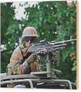 A Belgian Army Soldier Handling Wood Print