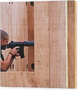 A Belgian Soldier Trying Out A Shooting Wood Print
