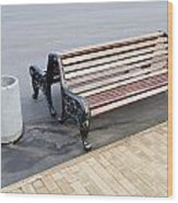A Bench To Rest In A Public City Park Wood Print