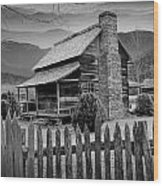 A Black And White Photograph Of An Appalachian Mountain Cabin Wood Print