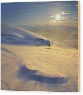 A Blizzard On Toviktinden Mountain Wood Print