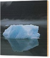 A Blue Iceberg And Its Reflection Wood Print