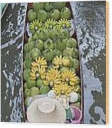 A Boat Laden With Fruit At The Damnoen Saduak Floating Market In Thailand Wood Print