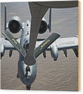A Boom Operator Refuels An A-10 Wood Print by Stocktrek Images