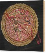 A Bowl Of Rakhis In A Decorated Dish Wood Print