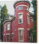 A Brick House With A Turret Wood Print