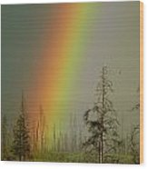A Brilliantly Colored Rainbow Ends Wood Print