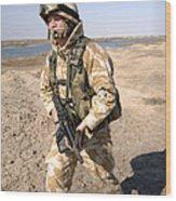 A British Army Soldier On Patrol Wood Print