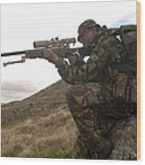 A British Soldier Armed With A Sniper Wood Print