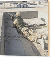 A British Soldier Provides Security Wood Print by Andrew Chittock