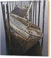 A Broken Boat Wood Print