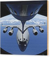 A C-17 Globemaster IIi Receives Fuel Wood Print by Stocktrek Images