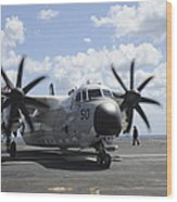 A C-2a Greyhound Taxis On The Flight Wood Print