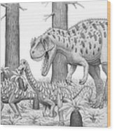 A Ceratosaurus Chasing Young Wood Print