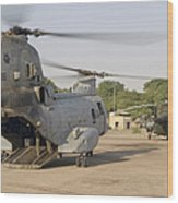 A Ch-46 Sea Knight And Mi-8 Helicopter Wood Print
