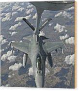 A Chilean Air Force F-16 Refuels Wood Print