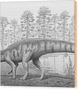 A Chirotherium Roams A Prehistoric Era Wood Print