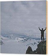 A Climber Raises His Arms In Triumph Wood Print