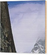 A Climber Rappels Down The Sheer Wood Print by Bill Hatcher