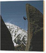 A Climber Rappels Off Grandma Boulder Wood Print