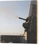 A Close-in Weapons System Fires A Burst Wood Print