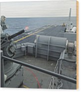 A Close-in Weapons System Fires Aboard Wood Print
