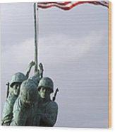 A Close Up Of The Iwo Jima Bronze Wood Print by Michael Wood