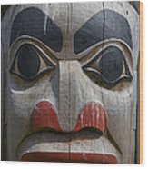 A Close View Of The Carvings Of A Totem Wood Print