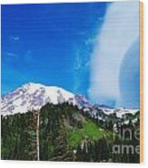 A Cloud Near Mt Rainer  Wood Print