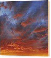 A Cloudy Sunset Wood Print