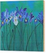 A Clutch Of Irises Wood Print
