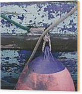 A Colorful Buoy Hangs From Ropes Wood Print