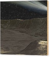 A Comet Passes Over The Surface Wood Print by Ron Miller