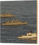 A Convoy Of Naval Ships Move Wood Print