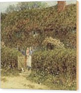 A Cottage At Freshwater Isle Of Wight Wood Print