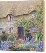A Cottage Garden In Full Bloom Wood Print