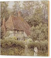 A Cottage Near Haslemere Wood Print
