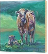 A Cow And Her Calf Wood Print