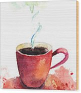 A Cup Of Coffee Wood Print