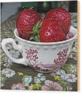 A Cup Of Strawberries Wood Print