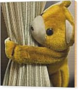 A Curtain With A Cute Stuffed Toy Wood Print