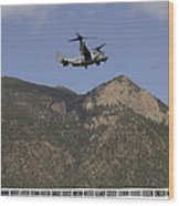 A Cv-22 Osprey Flies Over The 2007 Wood Print