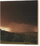 A Dark Cloud With Heavy Rain Moves Wood Print