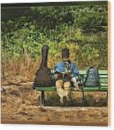 A Day On A Bench Wood Print