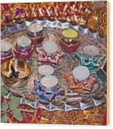 A Decorated Hindu Prayer Thaali With Wax Candles Oil Lamps Wood Print