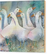 A Disorderly Group Of Geese Wood Print