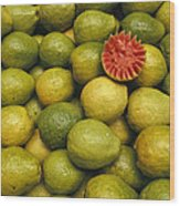 A Display Of Guavas In An Open Air Wood Print
