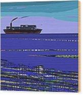 A Distant Ship Wood Print