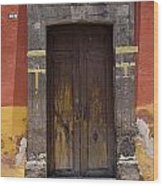 A Door In A Painted Building Wood Print