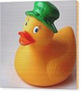A Duck With Green Hat Wood Print